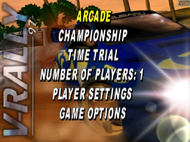 Menu screen of the game V-Rally - 97 Championship Edition on Sony Playstation