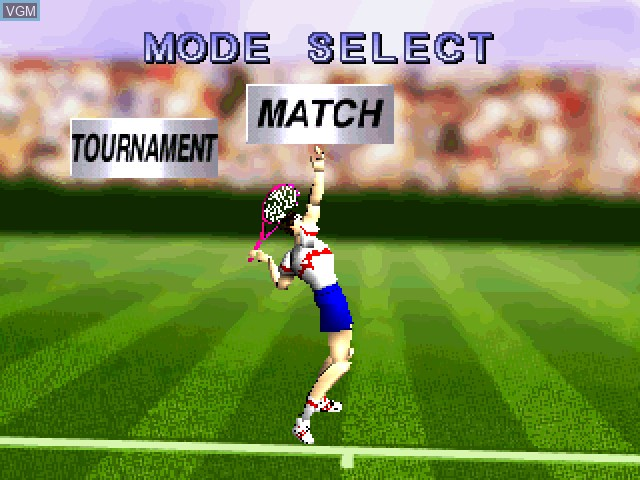 Menu screen of the game V-Tennis on Sony Playstation