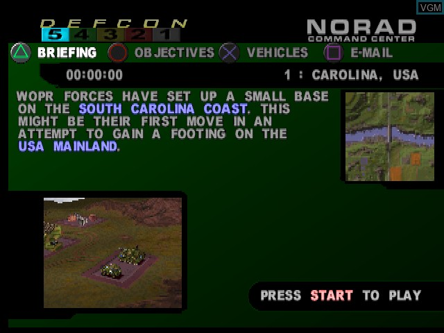 Menu screen of the game WarGames - Defcon 1 on Sony Playstation
