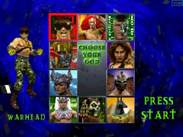 Menu screen of the game War Gods on Sony Playstation