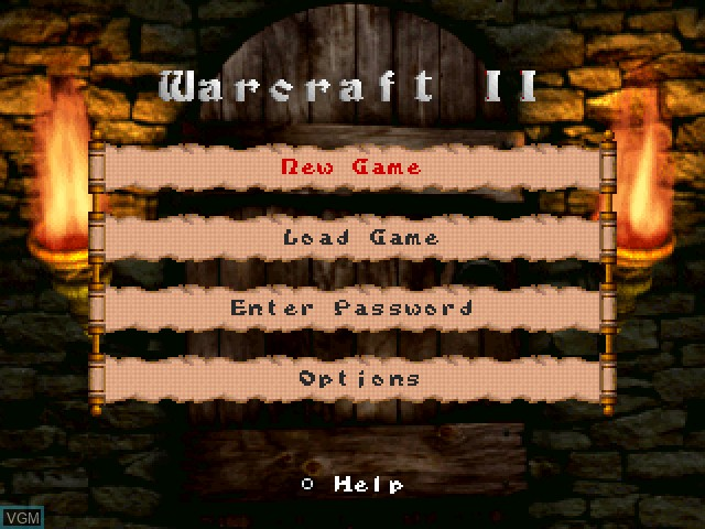 Menu screen of the game WarCraft II - The Dark Saga on Sony Playstation