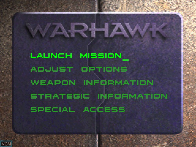 Menu screen of the game Warhawk - The Red Mercury Missions on Sony Playstation