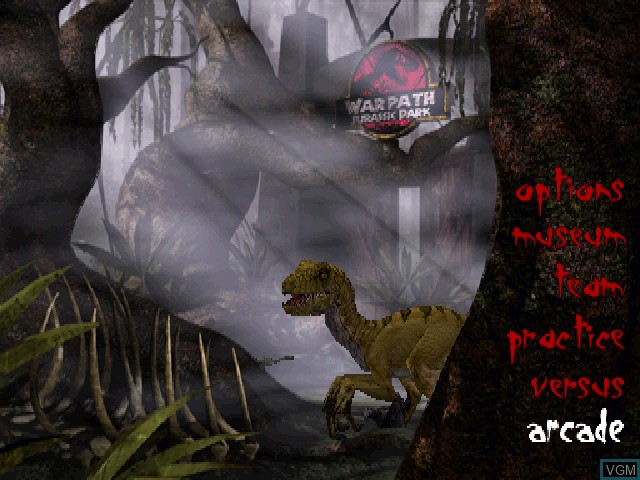 Menu screen of the game Warpath - Jurassic Park on Sony Playstation