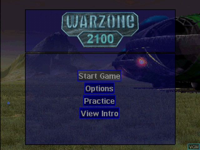 Menu screen of the game Warzone 2100 on Sony Playstation