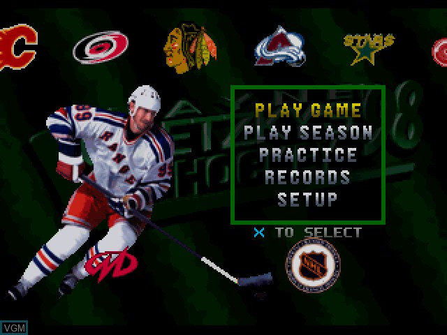 Menu screen of the game Wayne Gretzky's 3D Hockey '98 on Sony Playstation