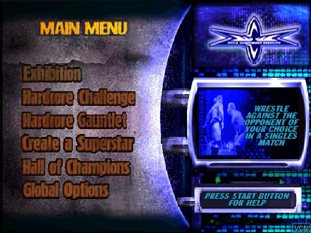 Menu screen of the game WCW Backstage Assault on Sony Playstation