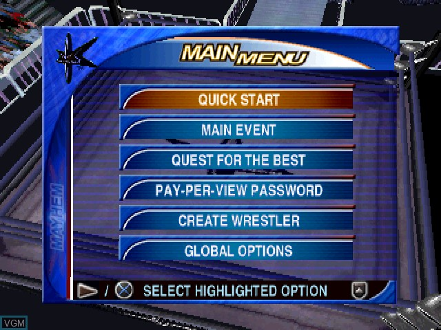 Menu screen of the game WCW Mayhem on Sony Playstation