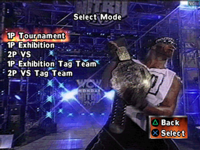 Menu screen of the game WCW Nitro on Sony Playstation