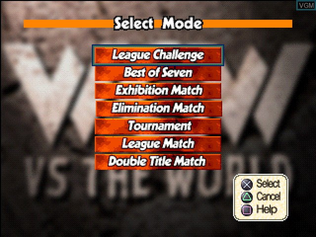 Menu screen of the game WCW vs. The World on Sony Playstation