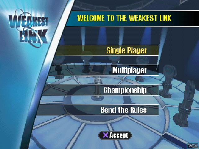 Menu screen of the game Weakest Link, The on Sony Playstation