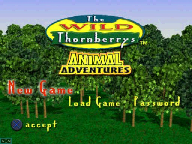 Menu screen of the game Wild Thornberrys, The - Animal Adventures on Sony Playstation
