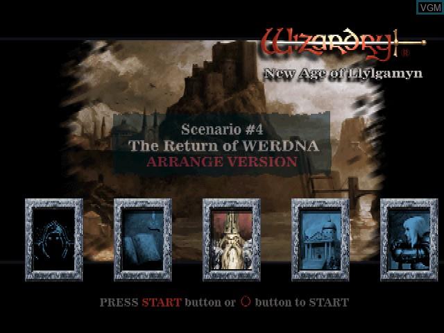 Menu screen of the game Wizardry - New Age of Llylgamyn on Sony Playstation