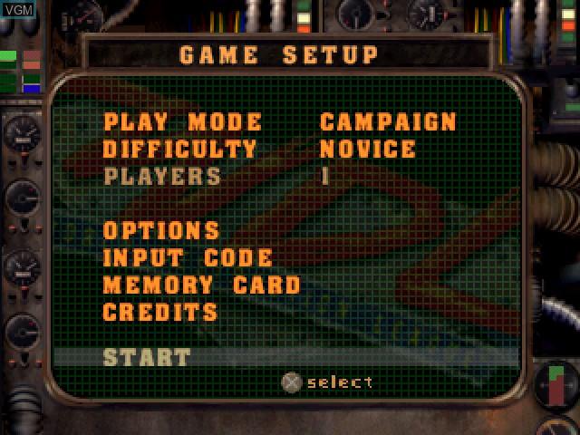 Menu screen of the game World Destruction League - WarJetz on Sony Playstation
