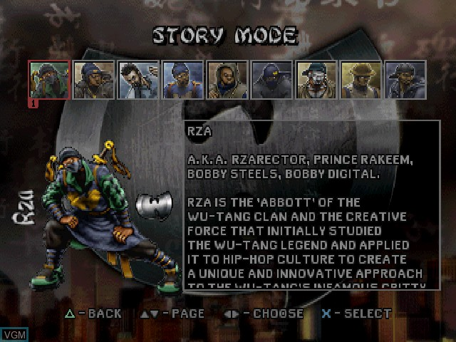 Menu screen of the game Wu-Tang - Shaolin Style on Sony Playstation