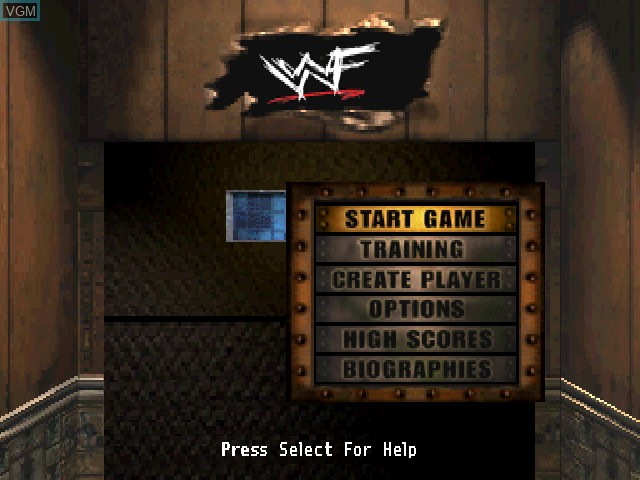 Menu screen of the game WWF War Zone on Sony Playstation