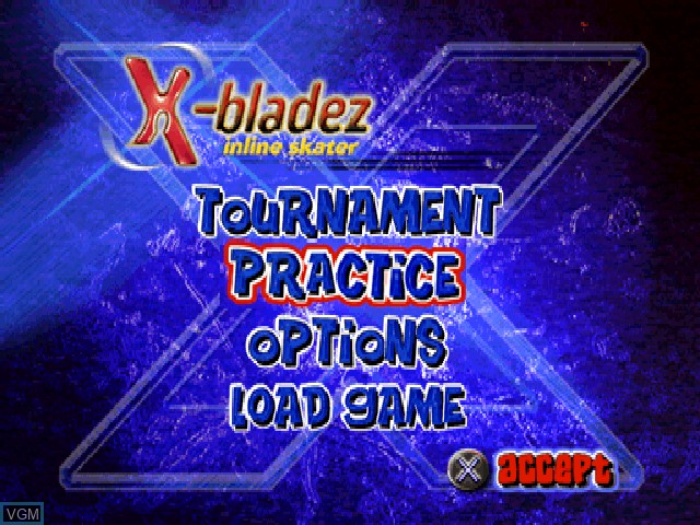 Menu screen of the game X-Bladez - Inline Skater on Sony Playstation