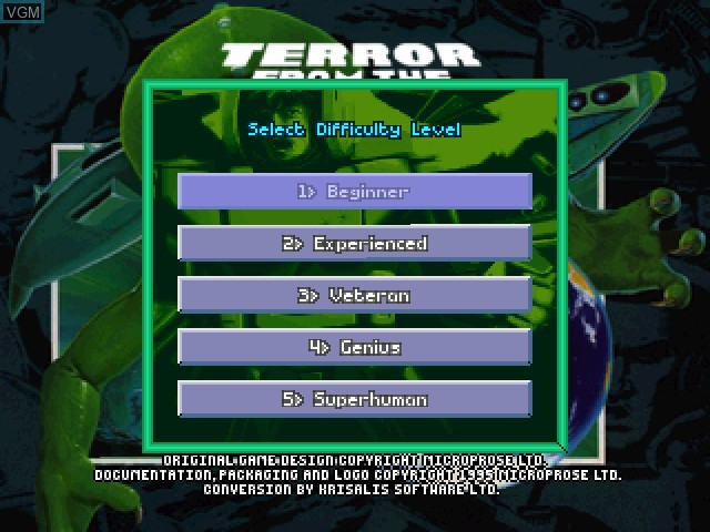 Menu screen of the game X-COM - Terror from the Deep on Sony Playstation