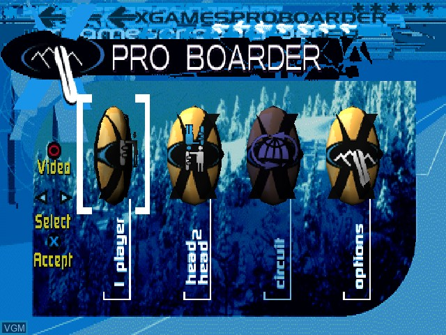 Menu screen of the game X Games Pro Boarder on Sony Playstation