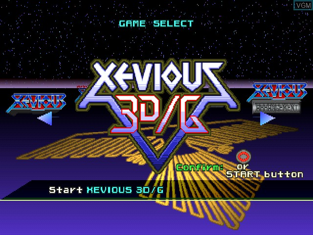 Menu screen of the game Xevious 3D-G+ on Sony Playstation