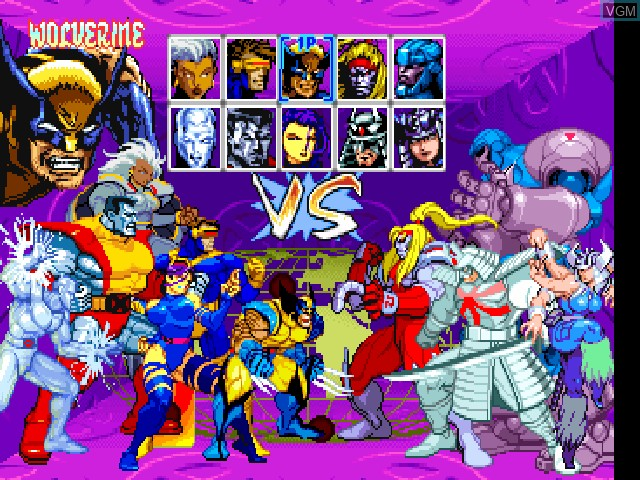 Menu screen of the game X-Men - Children of the Atom on Sony Playstation