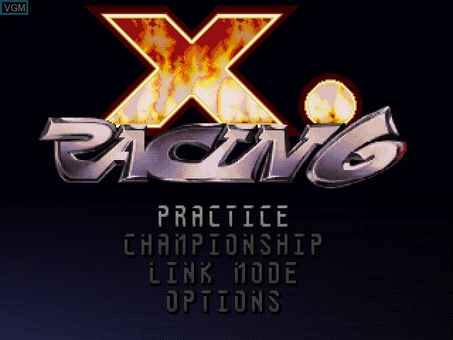 Menu screen of the game X.Racing on Sony Playstation