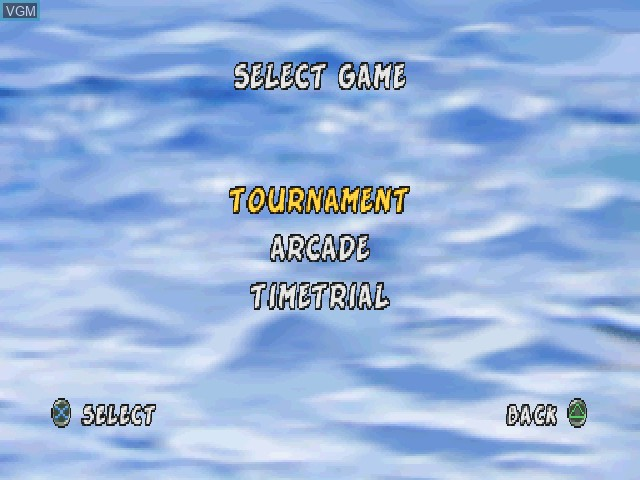 Menu screen of the game XS Airboat Racing on Sony Playstation