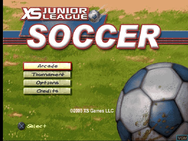 Menu screen of the game XS Junior League Soccer on Sony Playstation