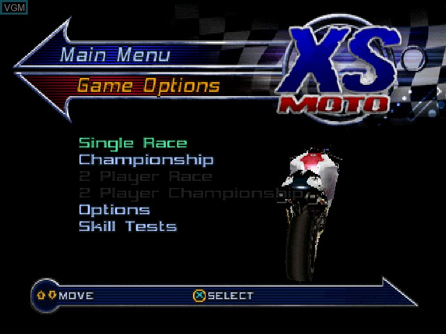 Menu screen of the game XS Moto on Sony Playstation