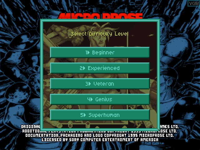 Menu screen of the game X-COM - UFO Defense on Sony Playstation