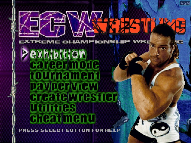 Menu screen of the game ECW Hardcore Revolution on Sony Playstation