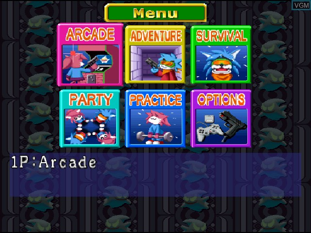 Menu screen of the game Ghoul Panic on Sony Playstation