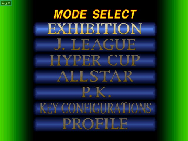 Menu screen of the game J. League Jikkyou Winning Eleven '97 on Sony Playstation