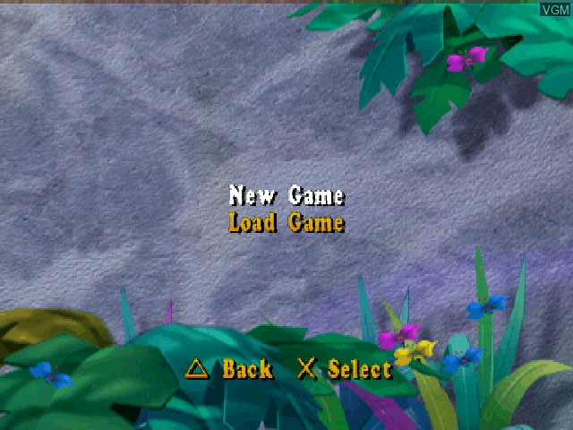 Menu screen of the game Land Before Time, The - Great Valley Racing Adventure on Sony Playstation