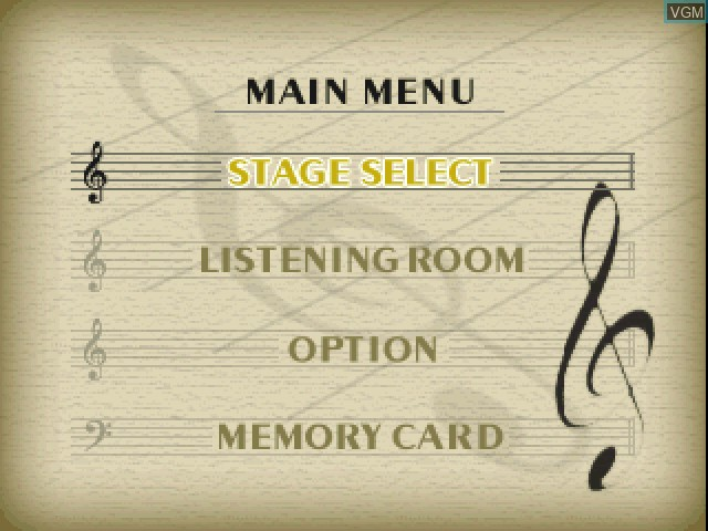 Menu screen of the game Le Concert - ff - Fortissimo on Sony Playstation