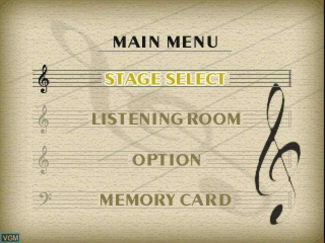 Menu screen of the game Le Concert - pp - Pianissimo on Sony Playstation
