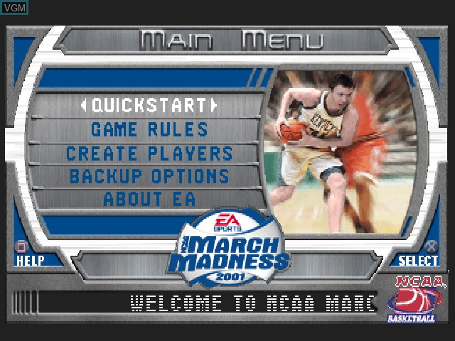Menu screen of the game NCAA March Madness 2001 on Sony Playstation