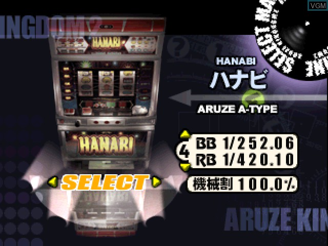 Menu screen of the game Pachi-Slot Aruze Oukoku 2 on Sony Playstation