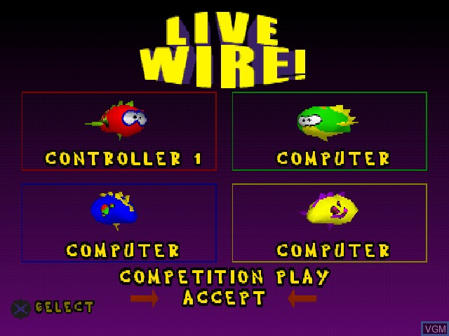 Menu screen of the game Live Wire! on Sony Playstation