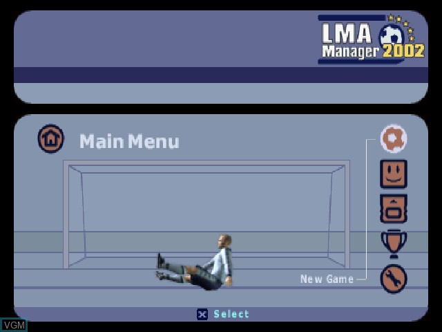 Menu screen of the game LMA Manager 2002 on Sony Playstation
