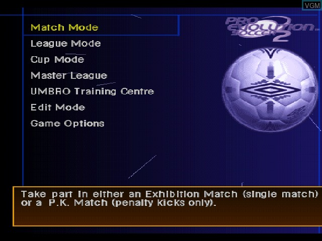 Menu screen of the game Pro Evolution Soccer 2 on Sony Playstation
