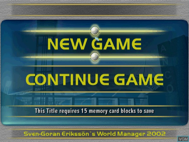 Menu screen of the game Sven-Goeran Eriksson's World Manager on Sony Playstation