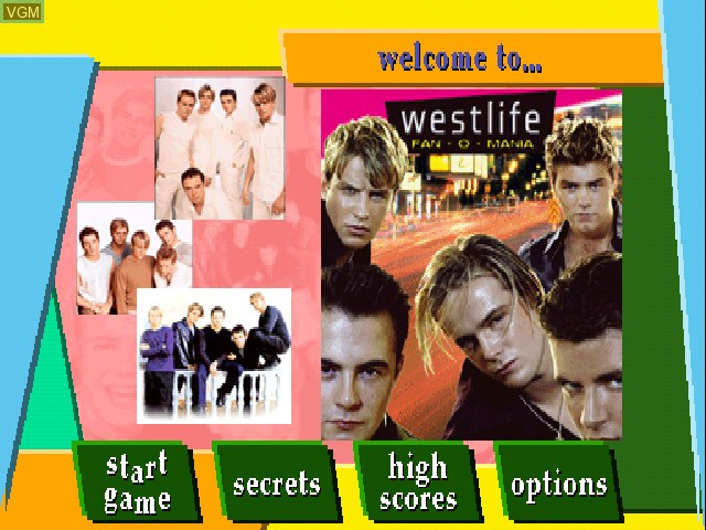 Menu screen of the game Westlife - Fan-O-Mania on Sony Playstation