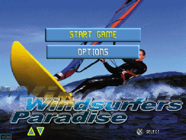 Menu screen of the game Windsurfers Paradise on Sony Playstation
