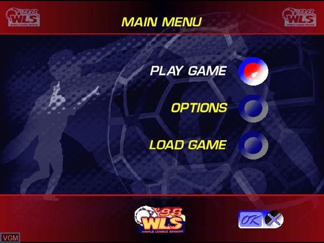 Menu screen of the game World League Soccer '98 on Sony Playstation