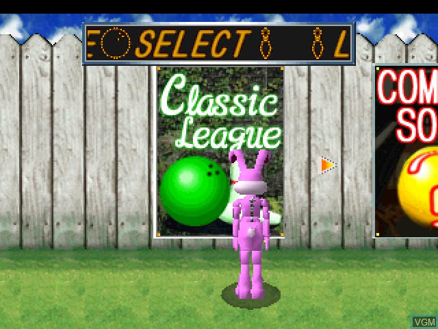 Menu screen of the game Waku Waku Bowling on Sony Playstation