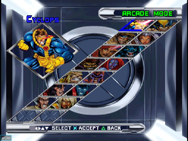 Menu screen of the game X-Men - Mutant Academy 2 on Sony Playstation