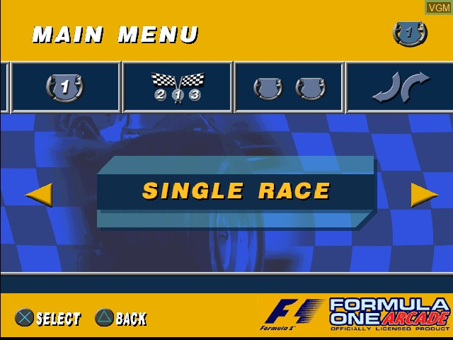 Menu screen of the game Formula One Arcade on Sony Playstation