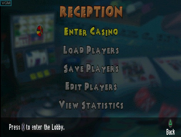 Menu screen of the game Caesars Palace II on Sony Playstation