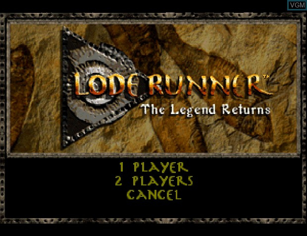 Menu screen of the game Lode Runner on Sony Playstation