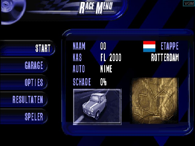 Menu screen of the game A2 Racer - Europa Tour on Sony Playstation